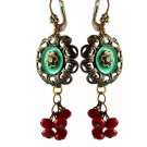 Unique Vintage Flower and Red Wine Crystal Beads Earrings