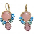 Gold Rose Quartz Swarovski Crystal and Turquoise Earrings
