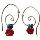 Gold Hoop Red Rose Turquoise and Lapis Lazuli Earrings - Polymer Rose