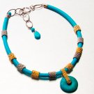 Striking Opaque Turquoise Pendant Necklace with Embroidered Gold and Silver Beads