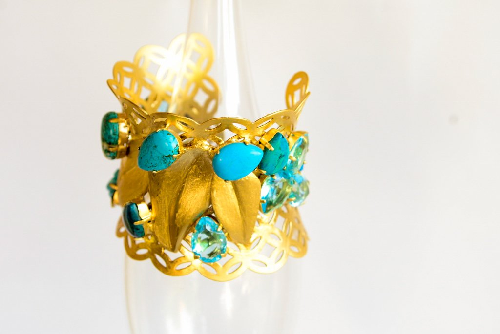 Unique one of a kind bracelet - Greek Goddesses gold bracelet, Turquoise bracelet,