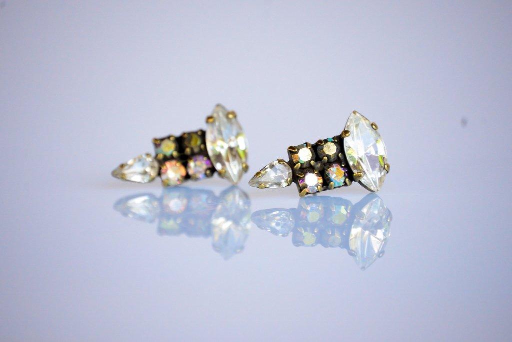 Elegant Markiz Swarovski Post Earrings - Crystal Earrings - Bridesmaid Earrings