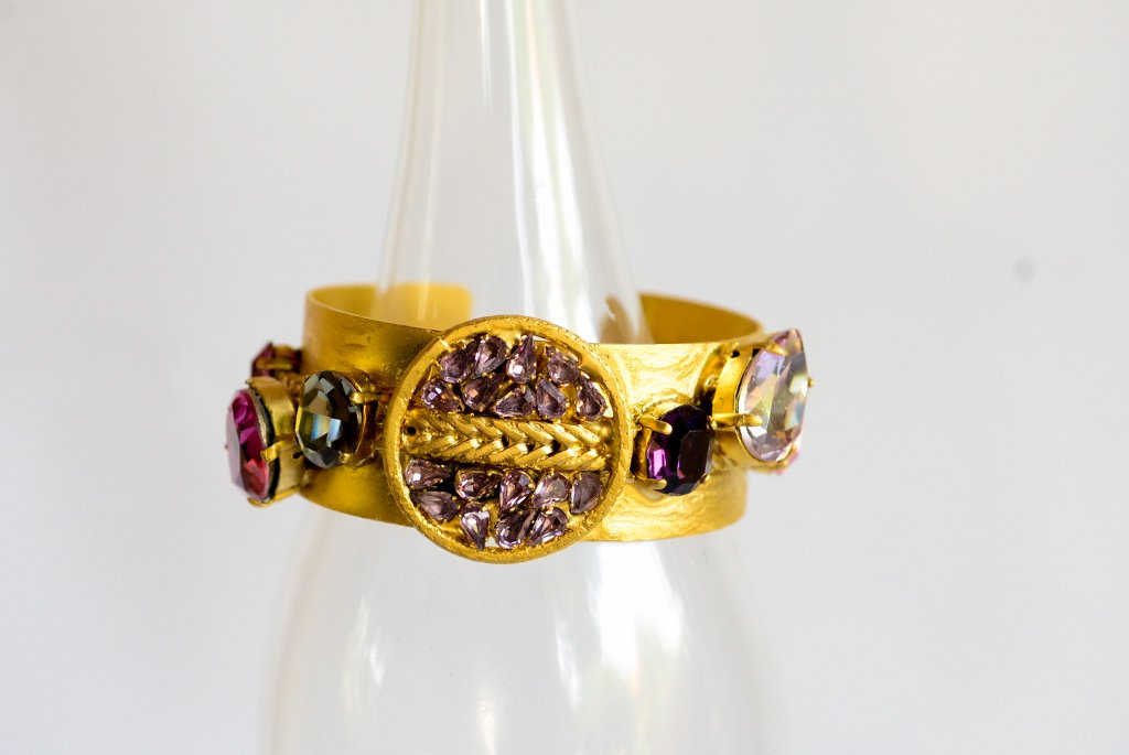 Gold Bracelet With Fuchsia Crystals - Antique Crystals -