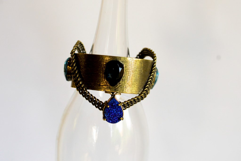 Unique Brass Bracelet With Druzi Stone - Blue Crystals Bracelet -