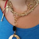 Gold Plated Chain Necklace with Black Antique Crystal - Elegant Necklace - Long Necklace