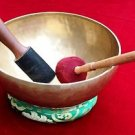Hand Hammered Tibetan Meditation Singing Bowl 10.8 inch with Cushion and Mallet