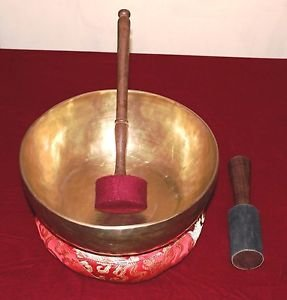 Handmade Tibetan Meditation Singing Bowl 11.8 inch with Free Cushion and Mallet