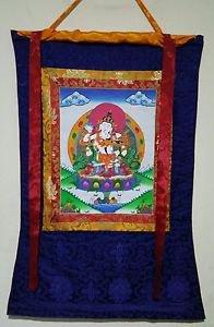 Vajrasattva Shakti Thangka, Thanka, Tanka Painting in Silk Brocade- Original Art