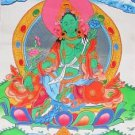 Original Tibetan Thangka Thanka Tanka Green Tara Hand Painted