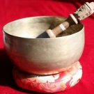 Old Tibetan Singing Bowl 5.9 inch with Carved Wood/Suede Mallet and Cushion