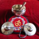Bronze Singing Bowl and Buddhist Cymbals Tingsha Set with Embroidered OM Cushion
