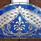 Arched Azure Crystal Imperial Stained Glass Window