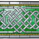 Celtic Crystal Green Weave Stained and Beveled Glass Window BL10