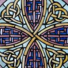 Celtic Knot Round Rose 18 inch Stained Glass Window CW5s
