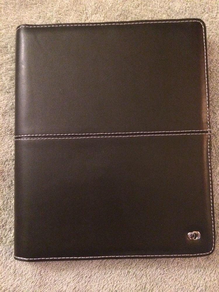 Leather Folio Case for Apple iPad  Black w/ White Stitching