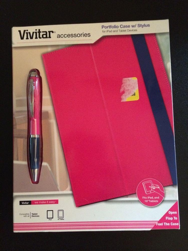 Vivitar Portfolio Case w/ Stylus for iPad & Tablet Devices  Pink w/ Blue