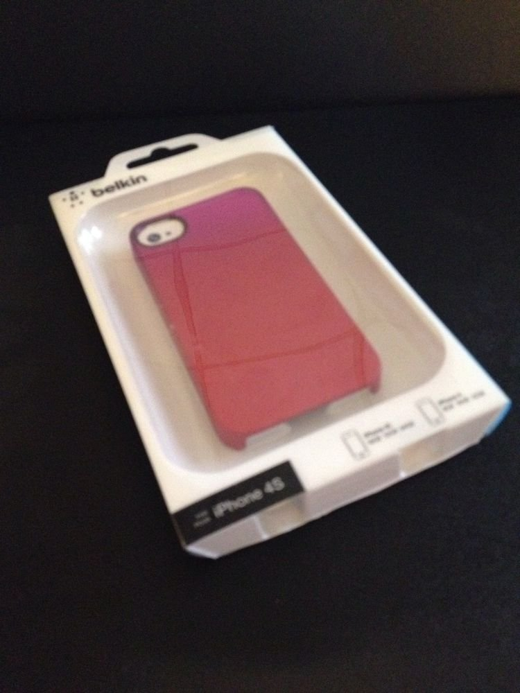Belkin Essential 063 iPhone 4 4S Case  Cover  Red Pink Purple  Hard Shell Case