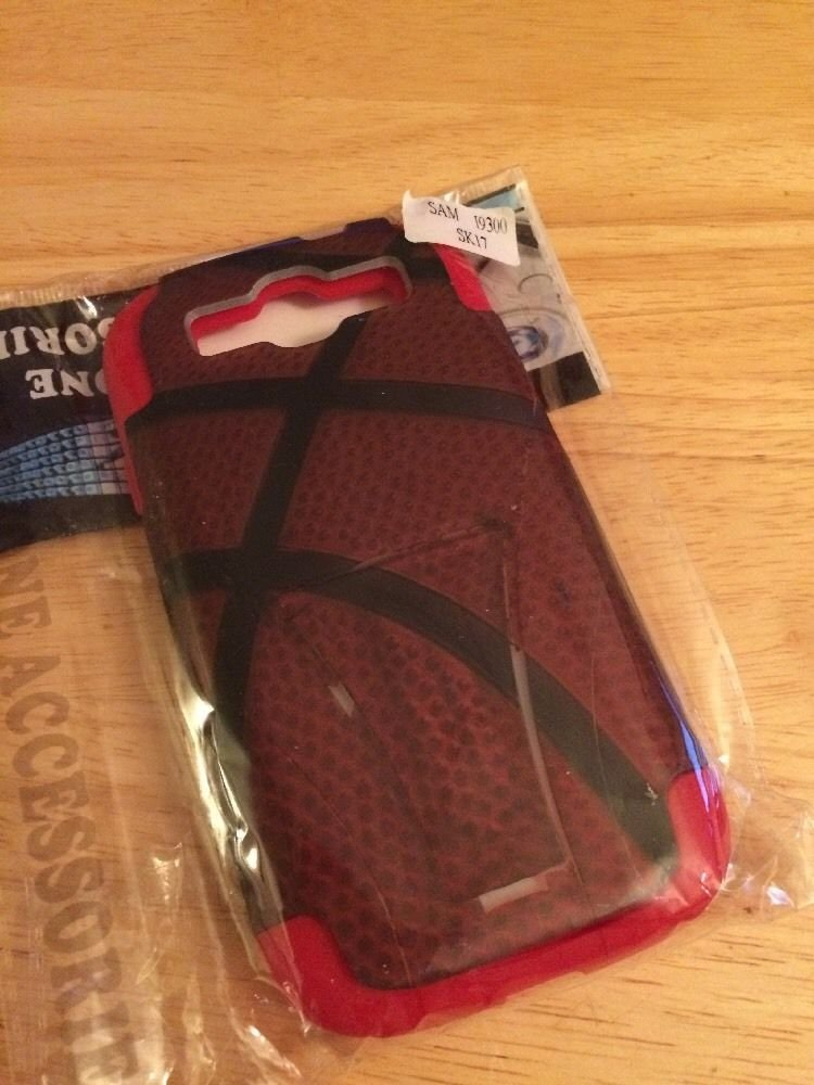 Silicrylic Dual Layer Case for Samsung Galaxy S3 SIII Basketball Red Kickstand