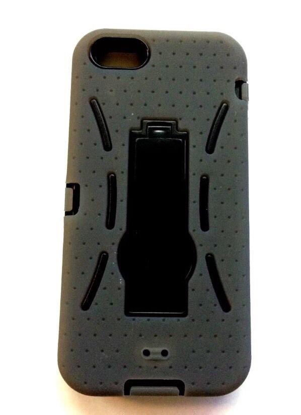 iPhone 5 Armour Case w/ Kickstand  iPhone 5S Defender Case Grey / Black