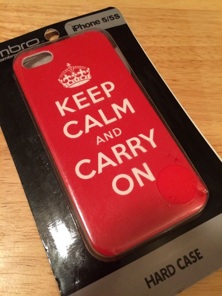 ambro iPhone 5 5S Hard Case Keep Calm And Carry On Red White Barely There Case
