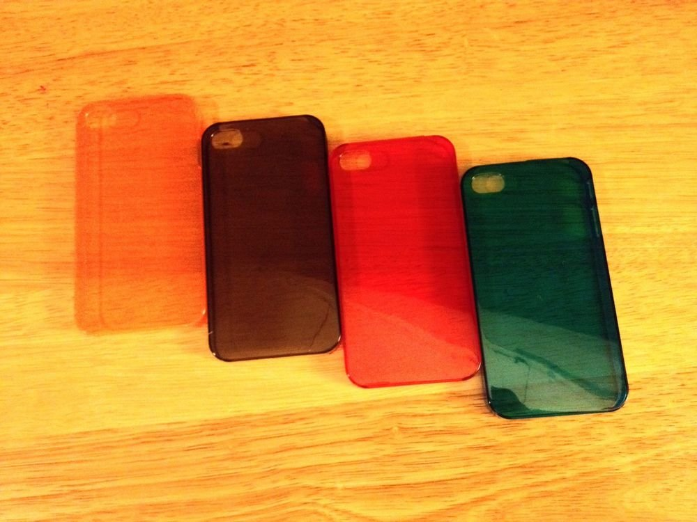 Lot Of iPhone 4 4s Hard Case   Bright Colored Orange Red Blue Smoke