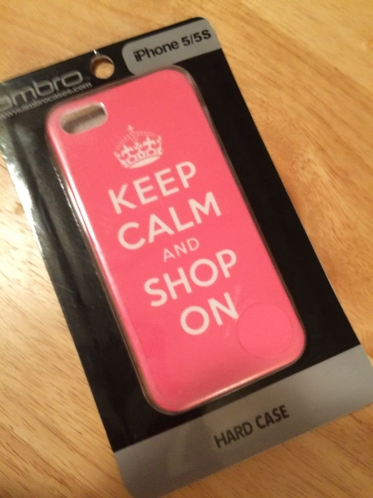 ambro iPhone 5 5S Hard Case Keep Calm And Shop On Pink White Barely There Case