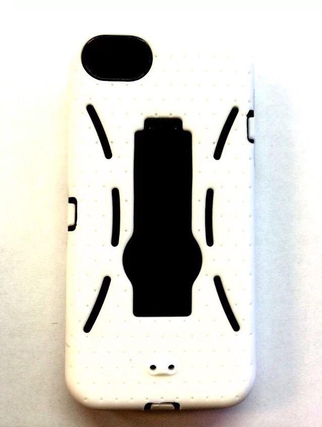 iPhone 5 Hybrid Case w/ Kickstand  iPhone 5S   White w/ Black  Defender Case