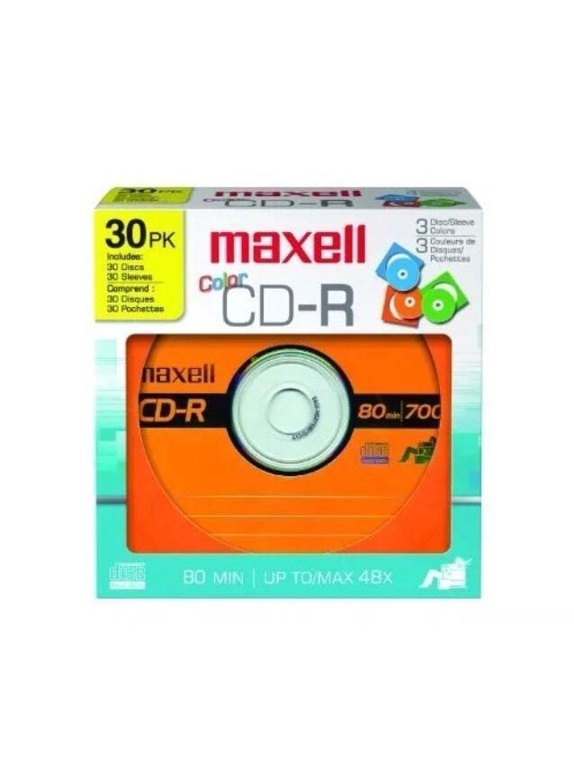 Maxell 30pk CD-R Color Discs 80min 700MB 48x  648451  3 Colors