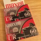 Maxell UR60 Audio Cassette Normal Bias - 2 Pack of 60min 120min Total