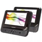 "7"" Dual Screen Portable DVD Player Dual Monitor Mobile Entertainment By Sylvania"