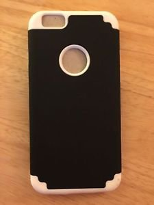 iPhone 6/6S Dual Layer Case Black/White Armor Hybrid Soft Inner Hard Outer USA