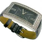 Modern CZ Black Genuine Leather Jewel Watch