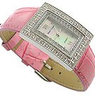 Romance CZ Pink Genuine Leather Jewel Watch