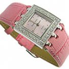 Modern CZ Pink Genuine Leather Jewel Watch
