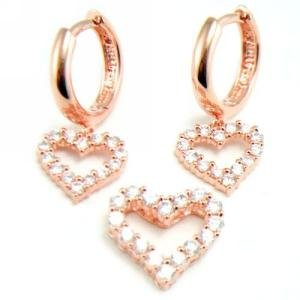 Rose Gold Plated Cz Heart Earring And Pendant Set