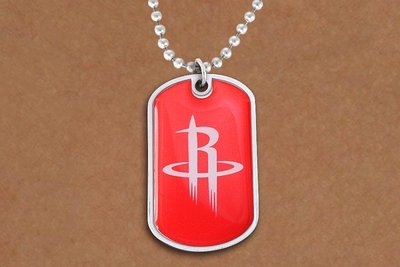 SWW20994N - HOUSTON ROCKETS NBA TEAM DOG TAG PENDANT BALL CHAIN NECKLACE