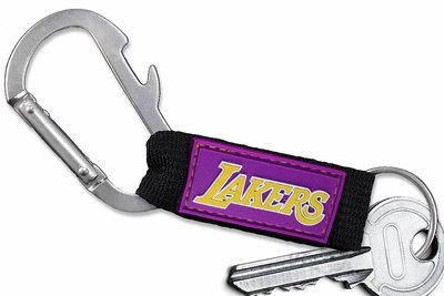 SWW21043KC - LOS ANGELES LAKERS LOGO CARABINER WITH BOTTLE OPENER AND KEY CHAIN