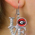 "SWW20642E - UNIVERSITY OF GEORGIA ""LOVE"" AUSTRIAN CRYSTAL EARRINGS"