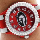 "SWW20388WT - THE UNIVERSITY OF GEORGIA ""G"" LOGO RED AND WHITE STRIPED AUSTRIAN CRYSTAL WATCH"