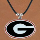 "SWW15750N - UNIVERSITY OF GEORGIA ""BULLDOGS"" BLACK CORD NECKLACE"