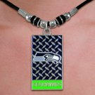 "SWW20983N - OFFICIAL SEATTLE SEAHAWKS ""GRIDIRON"" DOG TAG PENDANT ON BLACK CORD NECKLACE"
