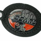 SWW19609KC - CHICAGO BEARS GENUINE BLACK LEATHER FRAMED KEY CHAIN