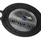 SWW19681KC - BALTIMORE RAVENS GENUINE BLACK LEATHER FRAMED KEY CHAIN