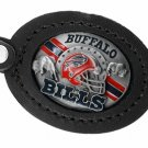 SWW19637KC - BUFFALO BILLS GENUINE BLACK LEATHER FRAMED KEY CHAIN