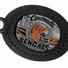 SWW19667KC - CINCINNATI BENGALS GENUINE BLACK LEATHER FRAMED KEY CHAIN