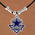 SWW14905N - DALLAS COWBOYS LOGO BLACK CORD LOGO NECKLACE