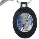 SWW16724KC - DETROIT LIONS GENUINE BLACK LEATHER FRAMED KEY CHAIN