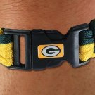 SWW21183B - GREEN BAY PACKERS GREEN AND ATHLETIC GOLD NYLON CORD AND BLACK PLASTIC CLIP BRACELET