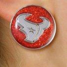 "SWW21047E - HOUSTON TEXANS NFL TEAM  SILVER TONE ""TORO"" RED SPARKLE EARRINGS"