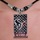 SWW20887N - OFFICIAL HOUSTON TEXANS DIAMOND  SHIELD PENDANT ON BLACK CORD NECKLACE